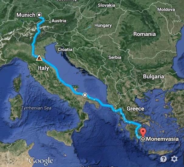 die Fahrt über Fernpass und Brenner nach Italien entlang der Adria und mit dem Schiff nach Patra