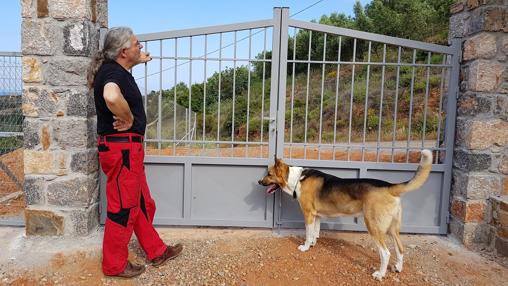 Dog and man thrilled by the entrance gate