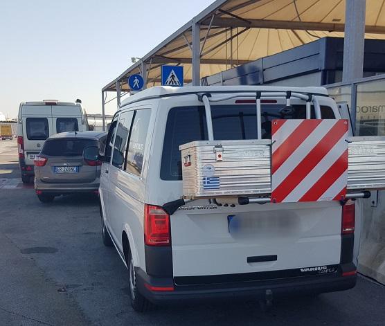 trotzdem genau nach Plan geschafft, kurz vor dem Boarding auf die Superfast am Hafen in Bari