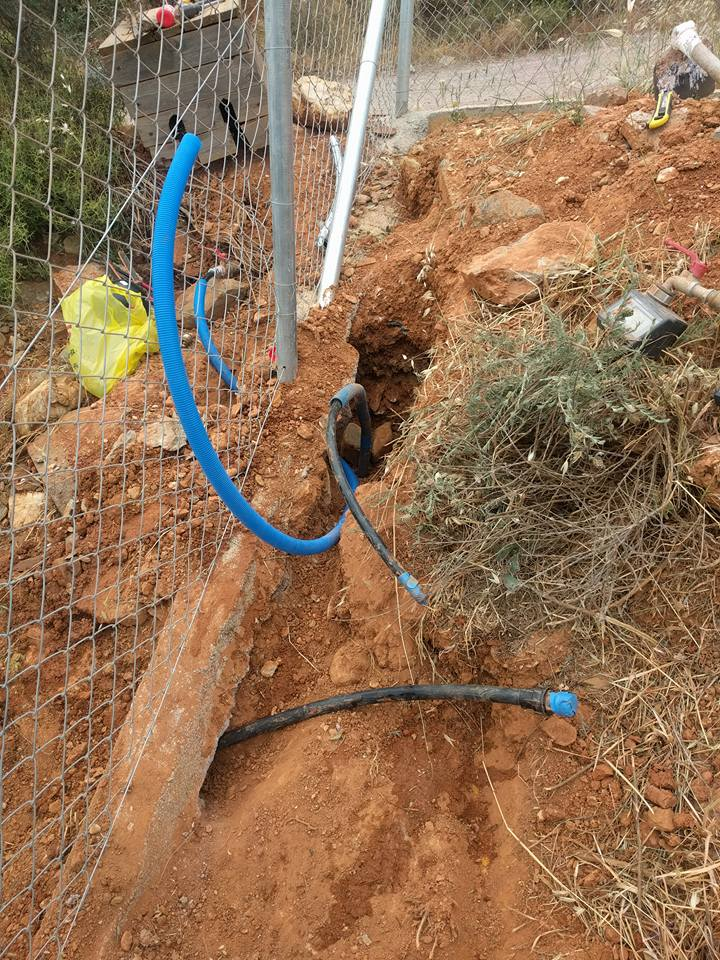 Water connection laid on the property behind the fence