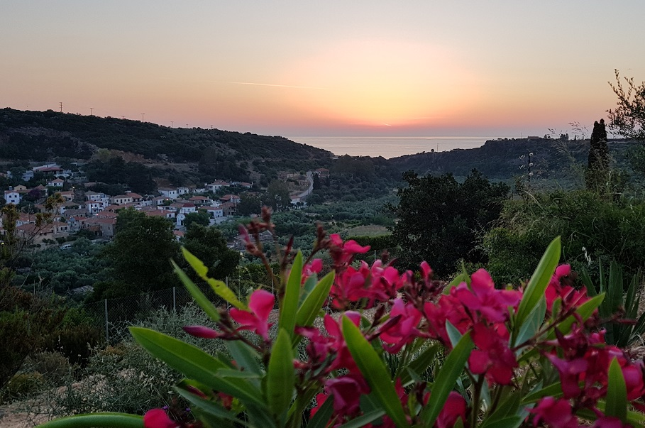 View from the terrace at the house - 6:30 Greek time, the sun is rising