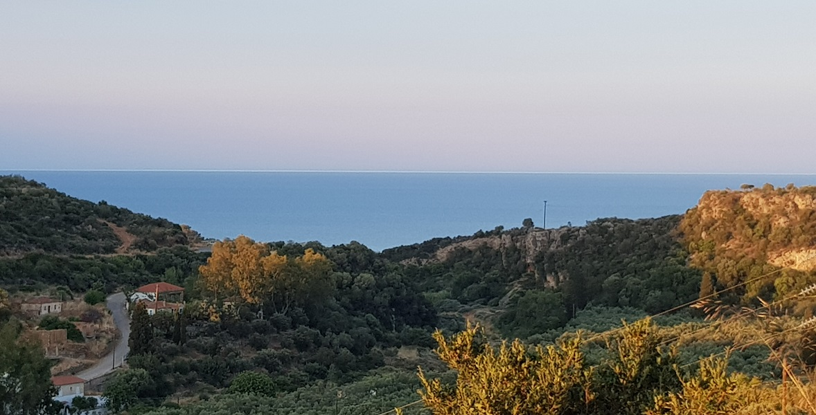 in the evening: the white line separates the sea and the horizon