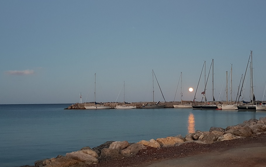 Full moon at the harbor in Gefira-Monemvasia